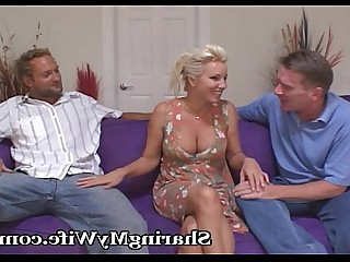 Threesome Blonde Cougar Couple Facials Group Sex Wife Hardcore