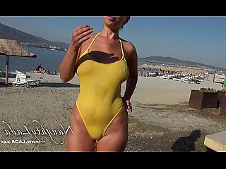 Beach Bikini MILF Nude Public Wet Outdoor Rough