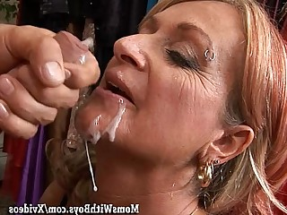 Facials Cumshot Mature Cougar Boyfriend Blowjob Hot Blonde