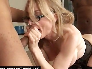 Threesome Really MILF Glasses Hardcore Mammy Interracial Horny