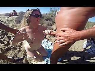 MILF Bukkake Couple Doggy Style Nude Sperm Beach