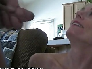 MILF Amateur Blonde Blowjob Boobs Cumshot Facials Granny
