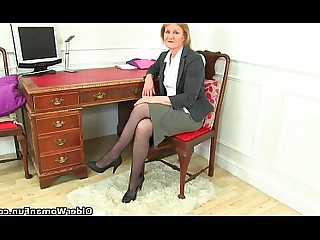 Striptease Secretary Cougar Stocking Solo Playing Office MILF