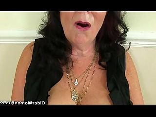 Cougar Dildo Granny HD Lingerie Mature MILF Solo