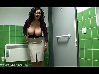 Toilet Tease Public Playing Oil Nasty MILF Boobs
