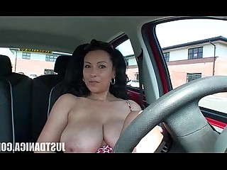 MILF Nasty Beauty Car Boobs Playing Tease