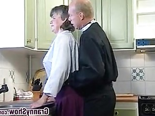 Couple Fuck Granny Hardcore Kitchen Sucking Mature Blowjob