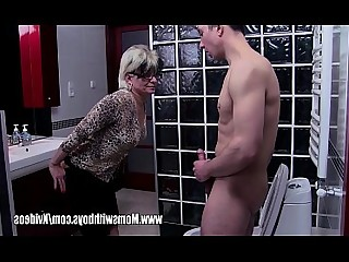 Jerking Glasses Hot Ass Bathroom Blowjob Cougar Cumshot