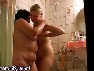 Amateur Cute Granny Lesbian Licking Mature Old and Young Shower