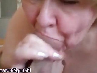 Stunning Amateur Mature Granny BBW Close Up Blowjob