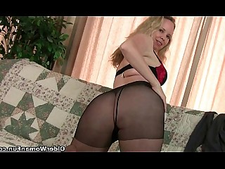 Granny HD Masturbation Mature MILF Nylon Panties Solo
