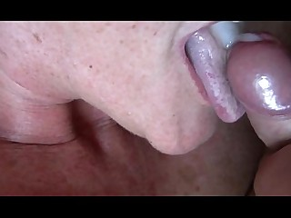 Sucking MILF Cum Close Up Big Cock Cougar Cumshot Granny