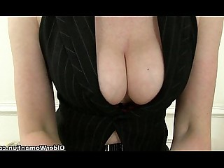 HD Mature Cougar Granny Secretary Nasty Stocking Mammy