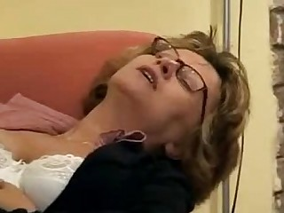 Awesome Granny Mature Stocking Dildo Glasses Ass
