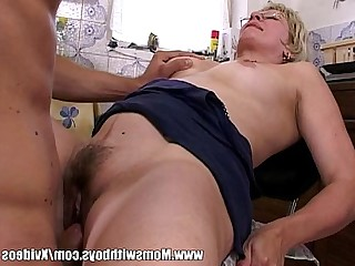 Sucking Ass Blonde Blowjob Doggy Style Fuck Glasses Granny