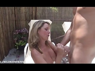 MILF Teen Jerking Handjob Mature Pool Old and Young