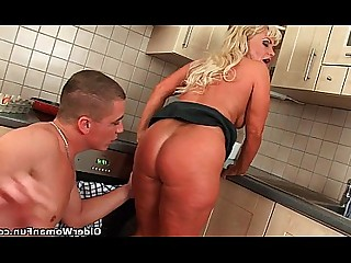 Blonde Blowjob Cougar Curvy Fuck HD Kitchen Mammy