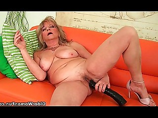 Mature Hairy Granny Dildo Big Tits Inside Mammy Boobs