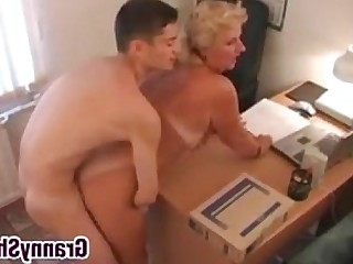 Office Mature Old and Young Teen Hardcore Granny Fatty Boss