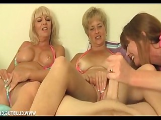 Big Cock Granny Handjob Jerking Mature MILF Threesome