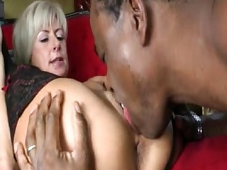Doggy Style Big Cock Blonde Mature Licking MILF Pussy Stocking