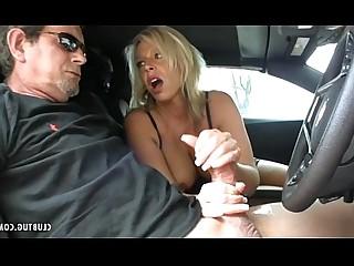 Juicy Jerking Mature MILF Car Handjob