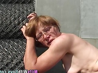Hairy Outdoor Hardcore Mature MILF Glasses Facials Granny