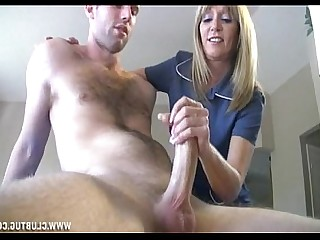 Huge Cock Jerking Mature Handjob Big Cock MILF Blonde