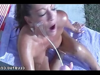 MILF Mature Jerking Hot Handjob Cumshot Brunette Outdoor