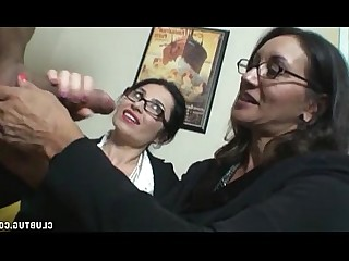 Double Penetration Glasses Handjob Mature Jerking MILF Ass Brunette