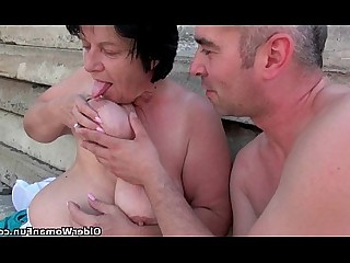 Blowjob Cumshot Fuck Hot Mammy MILF Outdoor Sucking
