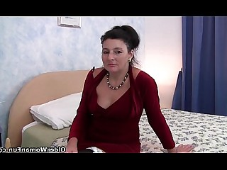 Anal Dildo Granny Mature MILF Nylon Playing Stocking