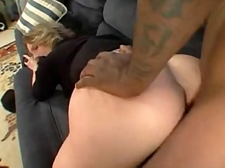 Huge Cock Big Cock Blonde Black MILF Stocking Interracial