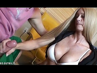 Mature Jerking Huge Cock Handjob Big Cock Hot MILF