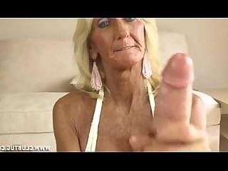 Granny Handjob Horny Jerking Mature