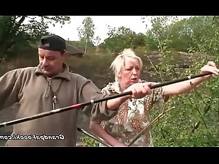 Blowjob Outdoor Natural Mature Granny Couple Blonde Funny
