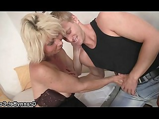 Blonde Granny Housewife Mammy Mature Old and Young Ride Teen