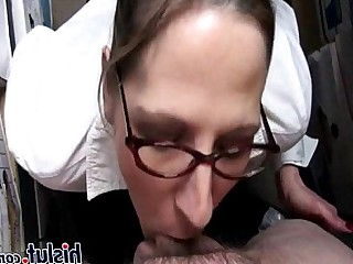 Hot Glasses Blowjob Sucking Ass Brunette Big Cock Cumshot