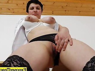 Brunette Cougar Mammy Masturbation Mature MILF Natural Striptease
