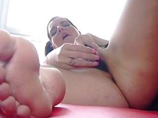 Brunette Close Up Dildo Feet Fetish Fingering Foot Fetish Hairy
