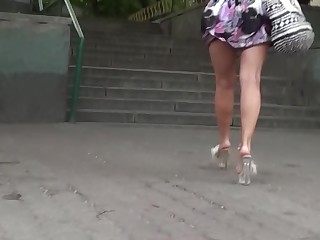 Blonde High Heels Hot MILF Outdoor Prostitut Public Skirt